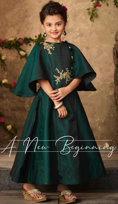 Pine Green Color Satin Silk Party Wear Readymade Girls Gown   57446655
