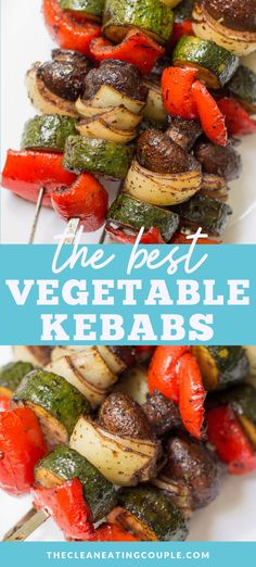 These healthy grilled Vegetable Kebabs are the best way to cook your veggies! easy to make + delicious - get ready to fire up your grill! Grilled Vegetable Skewers, Grilled Vegetable Recipes, Grilled Veggies, Grilled Chicken, Grilled Skewers, Chicken Recipes, Chicken Tacos, Potato Recipes, Bbq Vegetables