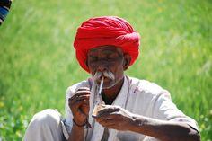 Smoking farmer. Rajasthan, India