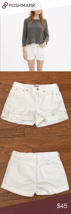 """Madewell Denim Boy-Shorts These denim shorts are made to fit just right—not too baggy, not too tight. Plus, they hit at the perfect place on the thigh to ensure maximum cool-girl legginess. We love the way the artfully hand-distressed patch and repair details give these cutoffs that had-them-forever vibe. 5"""" inseam (unrolled). 9.5"""" rise. 100% cotton. Madewell Shorts Jean Shorts"""