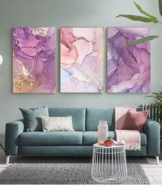 Purple Pink Abstracts Modern Contemporary Wall Art Fine Art Canvas Prints For Bedroom Living Room Office Glam Home Decor - Purple Pink Abstracts Modern Contemporary Wall Art Fine Art Canvas Prints – House.