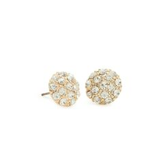 """Sparkling silver Annette earrings. These dome style beauties are covered in CZ shimmer. The perfect neutral go to for any outfit.  - Silver tone metal,  -1/2 """" wide - Post back for pierced ears Item # BSH20001023"""