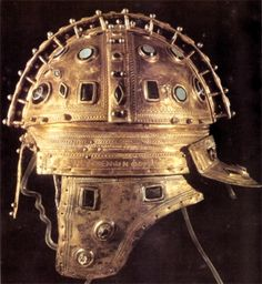 "Roman jeweled ceremonial ridge helmet, first twenty years of the 4th century CE, iron, gilt silver sheathing, glass gems. From the ""Berkasovo treasure"", Muzej Vojvodine, Novi Sad (Serbia)."