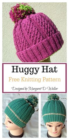 The Huggy Hat Free Knitting Pattern has a lovely texture which is very springy and very warm. The simple yet stylish hat will definitely go well with any outfit. Baby Knitting Patterns, Loom Knitting, Free Knitting, Double Knitting, Crochet Patterns, Cowl Patterns, Knitting Tutorials, Knitting Machine, Knitting Projects