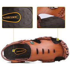 Men Stitching Hole Breathable Soft Non-slip Outdoor Leather Waterproof Sandals
