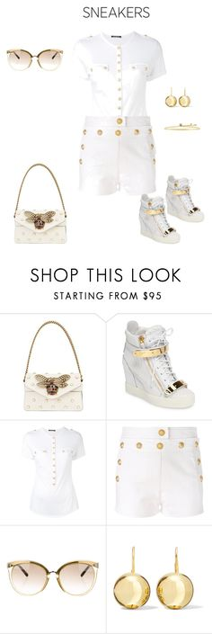 """""""Giuseppe Zanotti Wedge Sneaker"""" by horcal ❤ liked on Polyvore featuring Gucci, Giuseppe Zanotti, Balmain, Christian Dior, Sophie Buhai and whitesneakers"""