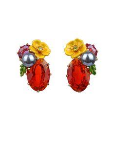 #LesNéréides #jewel #earrings #flower #stones #delicate #red #yellow #grey #enamel #garden #handmade #romantic  Shop on #www.lesnereides-usa.com