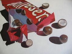 Chocolate Tease by April Jarocka Candy Drawing, Food Drawing, A Level Art Sketchbook, Food Artists, Candy Art, Food Painting, Expressive Art, Decoupage, Chocolate Art