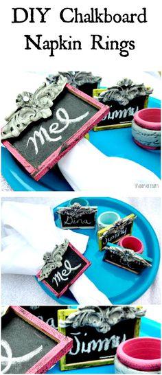 DIY Chalkboard napkin rings craft idea for Spring, Easter or Mother's Day. Placards made with paint and polymer clay.