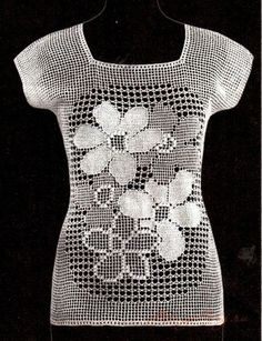 Crochet blouse, filet work ♥LCB-MRS♥ with diagrams