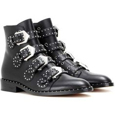 Givenchy Embellished Leather Boots (5,790 ILS) ❤ liked on Polyvore featuring shoes, boots, black boots, chaussures, black, genuine leather shoes, leather footwear, decorating shoes and black embellished shoes