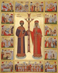 Helen & Constantine by Mihai Coman Sf Constantin, Byzantine Icons, Orthodox Icons, Saints, Children, Painting, Art, Santos, Boys