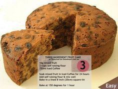 You will want to bake this 3 ingredient fruit cake - Fruitcake recipes - Rezepte Easy Cake Recipes, Sweet Recipes, Baking Recipes, Dessert Recipes, Easy Fruit Cake Recipe, Christmas Fruit Cake Recipe, Boiled Fruit Cake, Vegan Fruit Cake, Sugar Free Fruit Cake