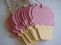 Ice Cream Cone Gift Tag Birthday Gift Tag by CraftyClippingsbyPeg