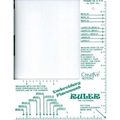 Embroidery placement ruler & embroidery placement ruler, jr