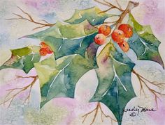 Original holly and red berries holiday watercolor greeting card painting. $18.00, via Etsy.