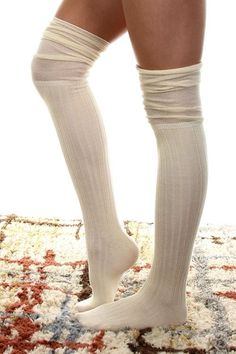 Cream Cable Knit Over the Knee Boot Socks