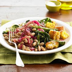 Beans and Greens with Corn Bread Croutons From Better Homes and Gardens, ideas and improvement projects for your home and garden plus recipes and entertaining ideas.