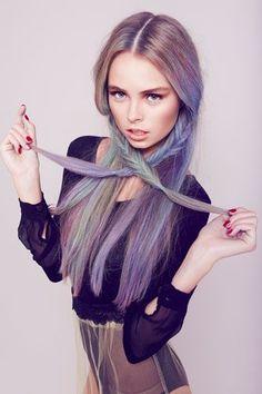 Light ash purple hair w/ fishtails.