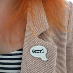 GRRRL SPEECH BUBBLE / feminist embroidery by halfstitchembroidery