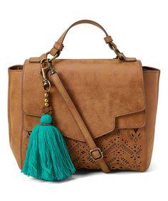Look what I found on #zulily! Cognac Laser-Cut Tassel Crossbody Bag #zulilyfinds