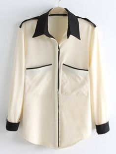 To find out about the Beige Long Sleeve Contrast Black Lapel Pocket Blouse at SHEIN, part of our latest Blouses ready to shop online today! Blouse Styles, Blouse Designs, Dress Sewing Patterns, Chiffon Shirt, White Shirts, Long Tops, Shirt Blouses, What To Wear, Contrast Color