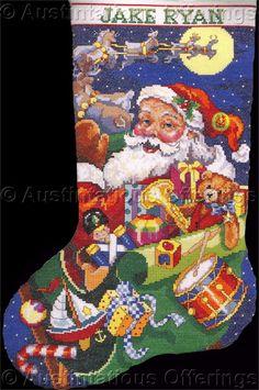 Rare Gillum Santa MidnightRide Cross Stitch Stocking Kit R L Toe