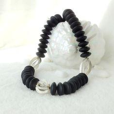 Ein tolles Collier aus mattem schwarzem Onyx, kombiniert mit gebürstetem Silber 925 Bracelets, Jewelry, Necklaces, Gemstone Beads, Rhinestones, Chain, Jewlery, Bijoux, Schmuck