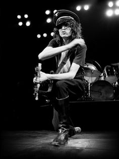 Jimmy Page on stage during Led Zeppelin's 1977 US tour