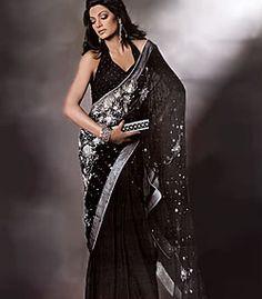 D3202 Black Traditional Chiffon Sari having Embroidery all over Sarees