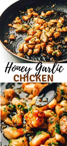 Chicken with garlic sauce - it's one of the most delicious honey garlic chicken recipes. Chicken with garlic sauce - it's one of the most delicious honey garlic chicken recipes. Garlic Chicken Recipes, Baked Chicken, Easy Honey Garlic Chicken, Keto Chicken, Recipe For Honey Garlic Sauce, Simple Honey Chicken Recipe, Recipes With Chicken In It, Healthy Chicken Sauce, Honey Garlic Chicken Sauce