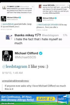 He is my savior!!! Keep saving people's life @micheal5sos we love you <3