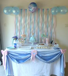 Cinderella Birthday Party, Princess Party, Cinderella Cake, Doll Cake, Star Cookie Wands, Cake pops, Cinderella Party, Pink Blue White Party, 4th Birthday, streamer backdrop, table sash,
