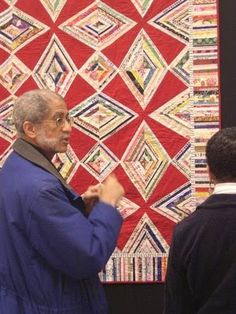Selvage Blog: Red Zinger selvage quilt by Karen Griska on exhibit at the Empire Quilters Quilt Show in New York City. See the pattern for this quilt here: https://www.etsy.com/listing/121443402/red-zinger-selvage-quilt-pattern-upcycle?ref=listing-22