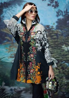 545e6847f2 Black embroidered shirt with multicolored silk dupatta by  #SanaSafinazSummerLawn2017Collection Pakistani Bridal Wear, Pakistani Suits