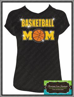 Proud Mom w/ rhinestones Basketball Tshirt by stephanie932