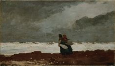 """""""Two Figures by the Sea,"""" Winslow Homer, 1882, oil on canvas, 19.25 x 34.375"""", Denver Art Museum."""