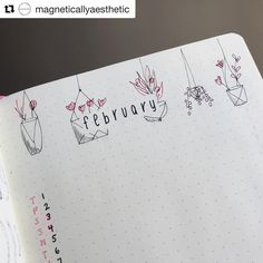 How cute is this February spread by @magneticallyaesthetic 😍 ____________________________________________ Use #bujobeauty for a chance to be featured 💛 ・・・ I am SO pleased with how cute my February banner came out! Inspired by @mygianthandwriting ☺️ . . . #bulletjournal #leuchtturm1917 #bulletjournaling #bujo #dotgrid #bujoinspire #showmeyourplanner #bujocommunity #bulletjournalcommunity #plannercommunity #planneraddict #wearebujo #bulletjournaladdict #bulletjournaljunkie #bujolove…