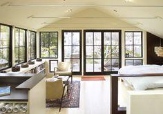 Feldman Architecture - eclectic - Bedroom - San Francisco - Feldman Architecture, Inc. nice integration of dog door Black Window Frames, Black Windows, Windows And Doors, French Windows, Black Doors, House Windows, Low Bookshelves, Contemporary Family Rooms, Bookshelf Design