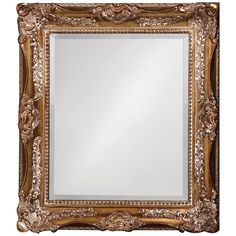 This traditional mirror's rectangular wooden frame is ornately decorated with scrolls, leaves and flourishes. All is finished in an antique bronze. Details: - Finished in an antique bronze - Collectio