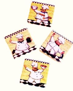 """Fat Chef Coaster Set of 4 Italian Bistro by Private Label. $24.99. Excellent attention to detail and such vibrant colors!. Create a personal and elegant touch to your Home!. Great as a Gift!. Usefull and stylish all in one!. Perfect for any Chef Collector!. 4 fat chef coasters with different theme on each one. Measure approximately 4"""". Felt on back to prevent skid and scratches. Great addition to your chef collection."""