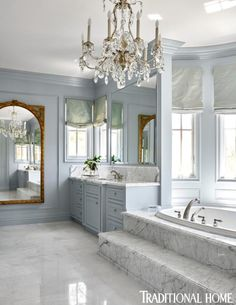 This master bath makes a statement! From the massive chandelier to the mirror and luxe finishes this is a chic. Beach House Bathroom, Beach House Decor, Master Bathroom, Elegant Home Decor, Elegant Homes, Home Luxury, Luxury Homes, French Style Sofa, French Style Homes