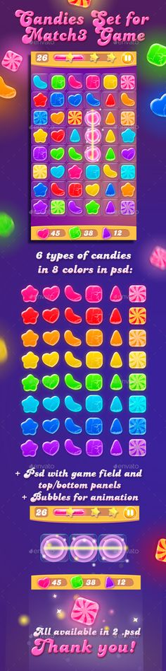 Colorful Candies for Match3 Game Set + Game UI Elements — Photoshop PSD #game set #puzzle game • Available here → https://graphicriver.net/item/colorful-candies-for-match3-game-set-game-ui-elements/13470266?ref=pxcr