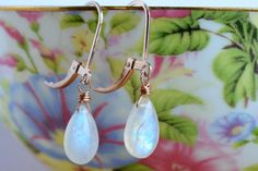 Moonstone Earrings Wire Wrapped Rainbow by BoutiqueBaltique Gemstone earrings, gemstone jewelry, moonstone jewelry, simple earrings, wire wrapped earrings