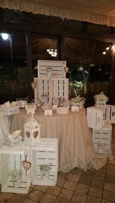 Confettata Wonderful use of white washed crates to create this Candy Buffett and display