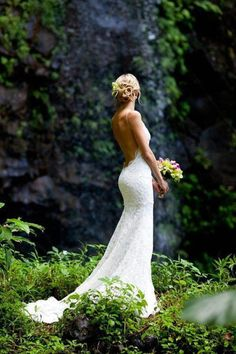 Backless spaghetti strap fishtail gown