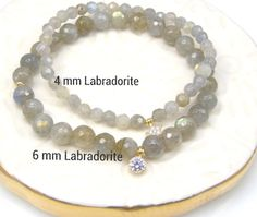 Labradorite Bracelet 4 mm Faceted Round by jivanmuktijewelry