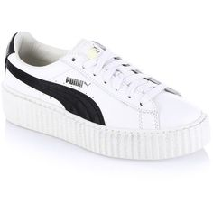 PUMA FENTY Puma x Rihanna Leather Creeper Platform Sneakers (995 DKK) ❤ liked on Polyvore featuring shoes, sneakers, puma trainers, lace up sneakers, white sneakers, white leather sneakers and leather shoes