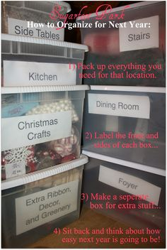 Sugarfoot Park: Christmas Storage Ideas - Brilliant! How to store everything so next year is easy and mess free.