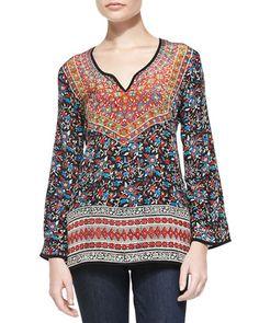 bf9c04c681c24 Tolani Monika Printed Silk Tunic